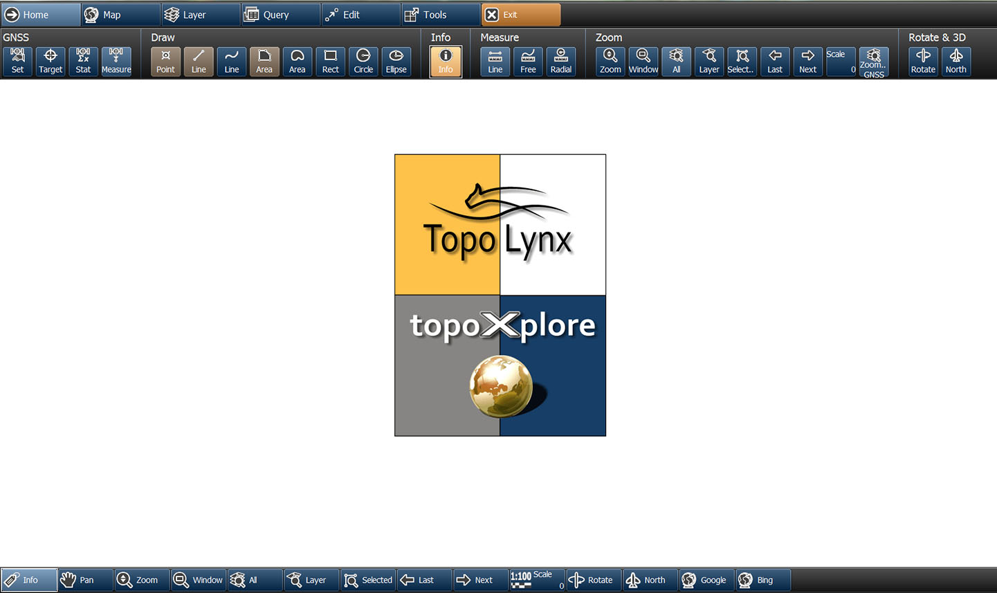 Main window of topoXplore and the splash screen